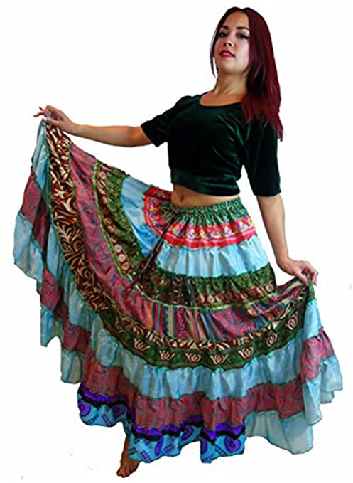 8803b78f7 1 - 7 Yard Tribal Gypsy Maxi Tiered Falda Belly Dancing Faldas Seda Blend  Banjara Se ajusta SML XL, un talla 34 - 46