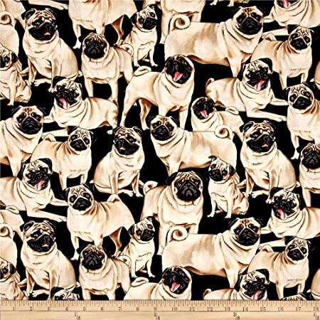 Pugs Pug Puppies Puppy Dog Cute Fabric Printed by Spoonflower BTY