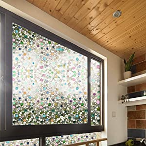 FF&XX Privacy Window Film,Frosted Stained Glass Window Film Static Cling Removable Glare Reduction Window Sticker Uv Prevention Window Decor-a 45x100cm(18x39inch)