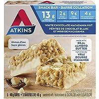 Atkins Snack Bars, White Chocolate Macadamia Nut, 12g Protein, 2g Sugar, 8g Fibre, Gluten Free, 5 Count