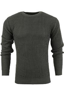 810e0d35ea8da2 Brave Soul Mens Jumper Neutron' Thick Knit Sweater Crew Neck Chunky Pullover  ...
