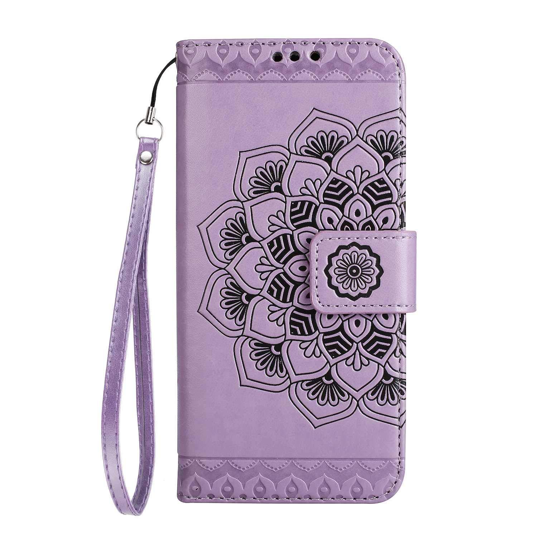 Coque Galaxy S6 Edge, SONWO La Mode Motif de Mandala Fleurs Flip en Cuir PU Housse Etui avec Fermoir magnétique, Fentes de la Carte pour Samsung Galaxy S6 Edge, Violet