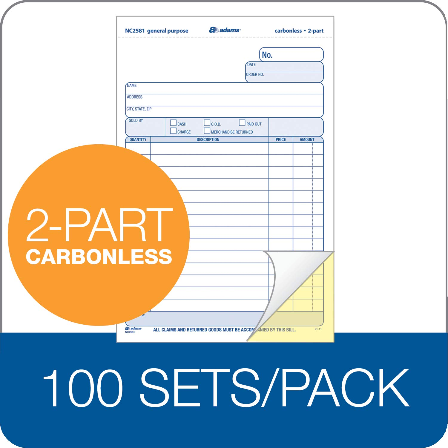 Adams General Purpose Unit Sets, 5.67 x 8.5 Inches, 2-Part, Carbonless, White/Canary, 100 Sets per Pack (NC2581) by Adams (Image #4)