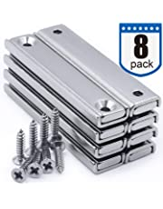 Strong Neodymium Rectangular Pot Magnets with Counter Bore, Countersunk Hole Magnets with Mounting Screws - 60x13.5x5mm, Pack of 8