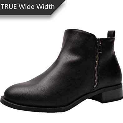 0a147681760 Women s Wide Width Ankle Boots - Classic Low Heel Side Zipper Comfortable  Booties.(180527