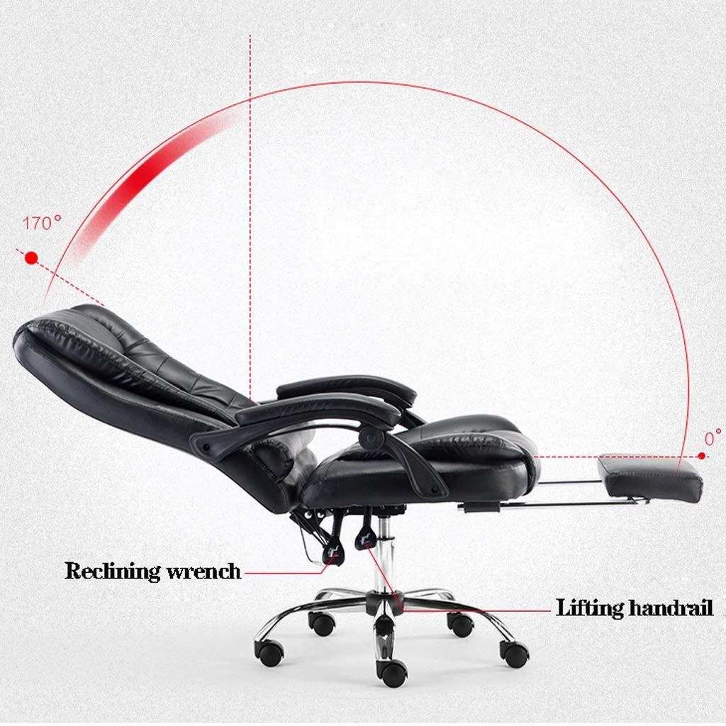 Aoyo-stolar vilande datorstol, läderchef stol, hemmakontor stol lyft svängbar stol kontorsmöbler (färg: Kaki) Khaki