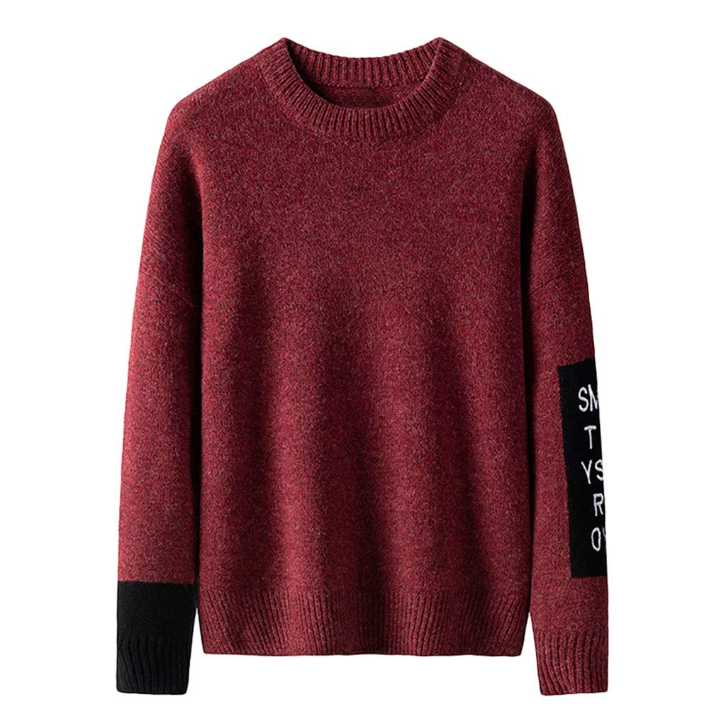 wuliLINL Men's Knitted Autumn Winter Stitching Color Textured Jumper Casual Sweater(Wine-B,XXL) by wuliLINL