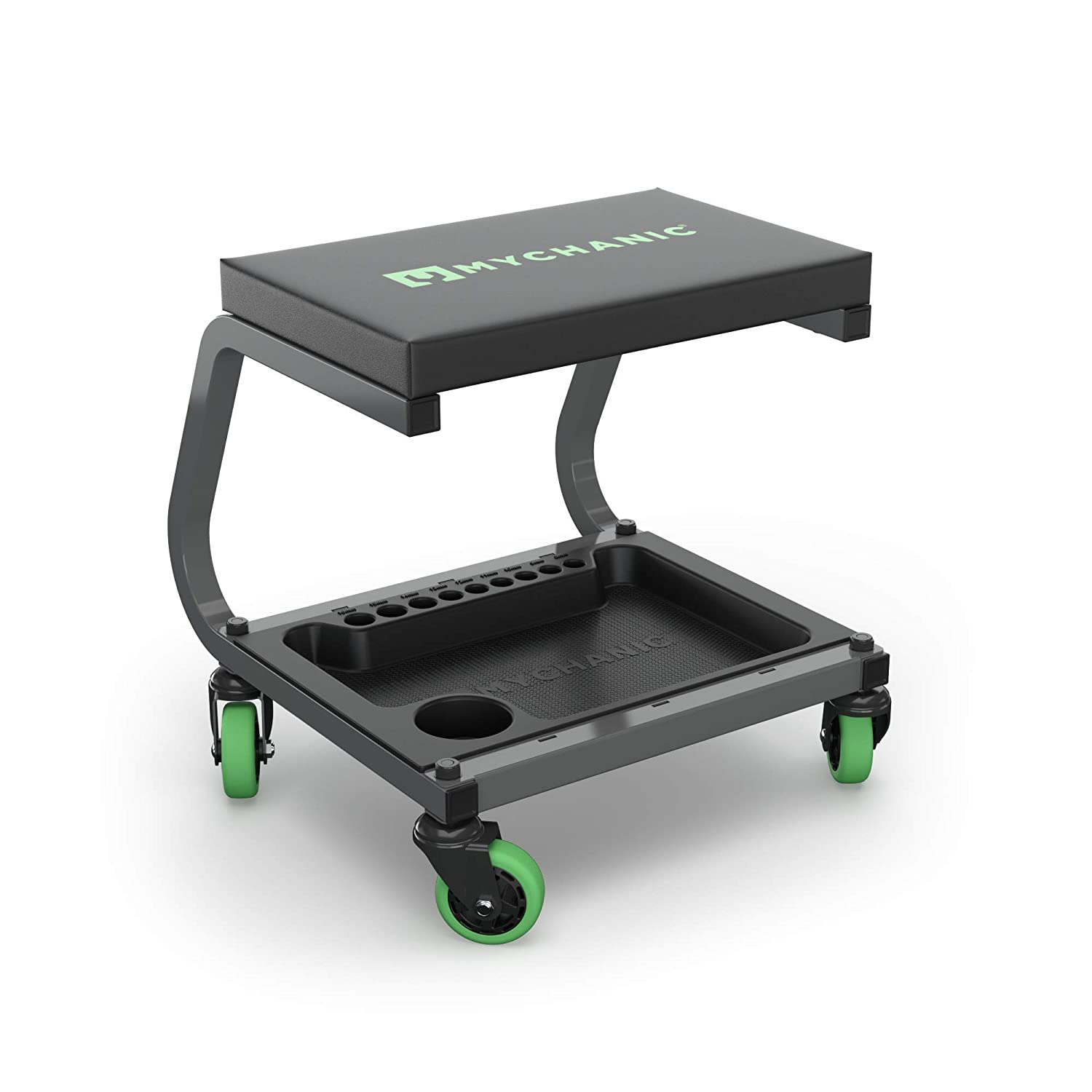 Powder Coated Steel Frame Tool Tray with Socket Organizer Padded Seat 350 Lb Capacity Rolling Garage Stool MYCHANIC Fastback Shop Stool 3-Inch Casters