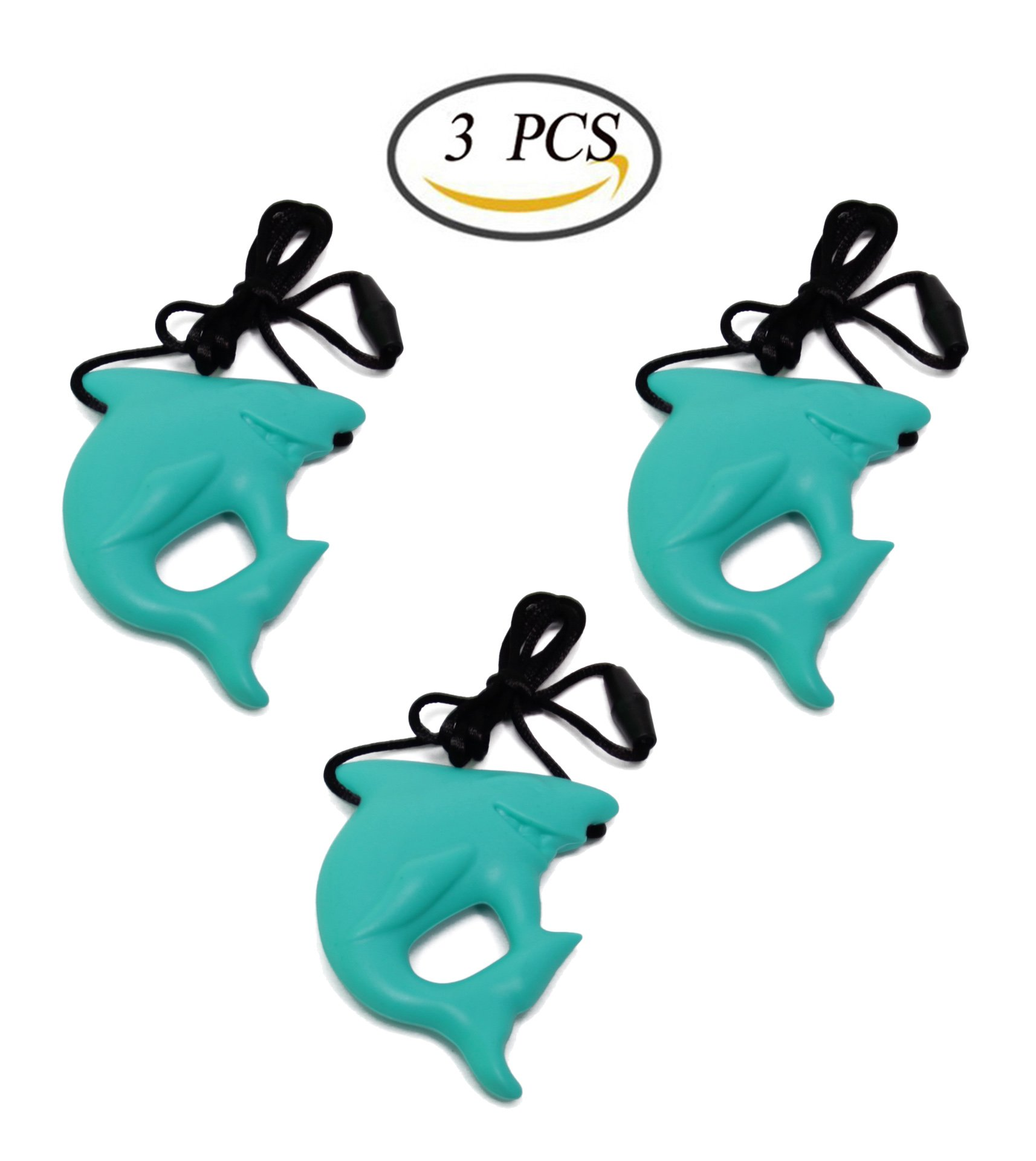 Bluexury 3 Pack Shark Chewy Necklace Set Silicone Teething Necklace Baby Chew Pendant Necklace for Nursing Mom and Autism and Oral Motor Special Needs Kids (Green)