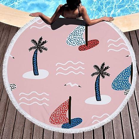 YEARGER yeahracing rger Toallas de Playa, Verano Coco Árbol Redondas – Esterilla de Yoga Alfombra