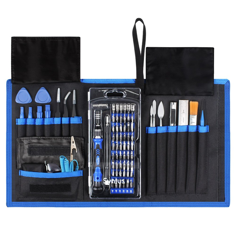 Syntus 80 in 1 Precision Screwdriver Set with Magnetic Screwdriver Kit, Essential Electronics Repair Tool Kit With Portable Pouch for iPhone, iPad, MacBook, Gaming Console, Controller, Black and Blue by Syntus (Image #1)