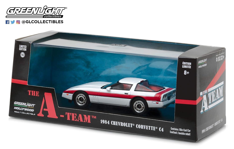 A-TEAM Modello DieCast Auto CORVETTE C4 1984 Scala 1//43 ORIGINALE Greenlight