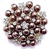 Cuivre couleur Bronze Broche Fleur Perle Cristal