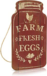 Putuo Decor Farm Decor, Rustic Mason Jar Sign for Farmhouse, Kitchen, Chicken Coop, Country Cottage, 8.3x4.5 Inches Wood Hanging Plaque - Farm Fresh Eggs