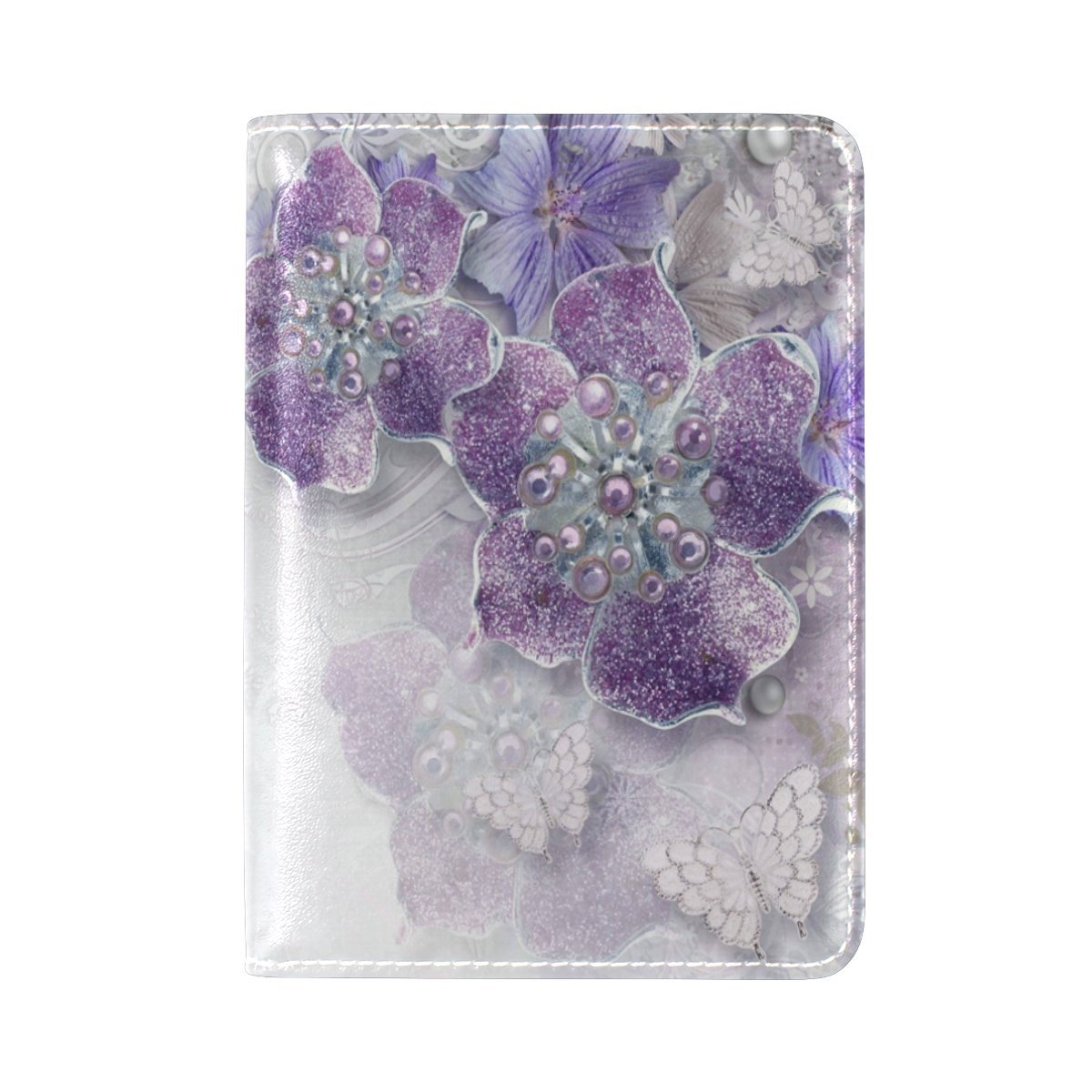PU Leather Passport Holder Cover Case with Purple Jewellery Flowers Travel One Pocket