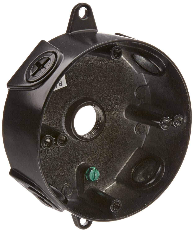 RAB Lighting VXCB Weatherproof Round Box with No Cover, Aluminum, 1/2' Hole Size, Black 1/2 Hole Size