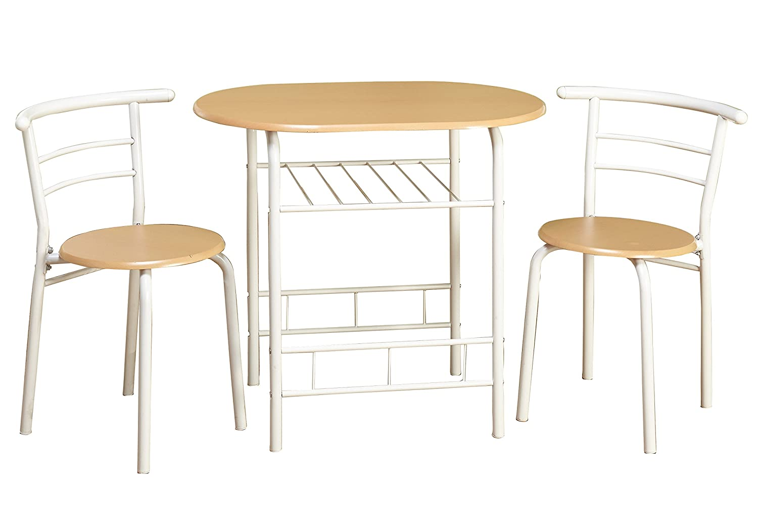 Target Marketing Systems 3 Piece Two-TonedBistro Dining Set with 2 Mid-Back Chairs and 1 Round Pedestal Dining Table, White/Natural