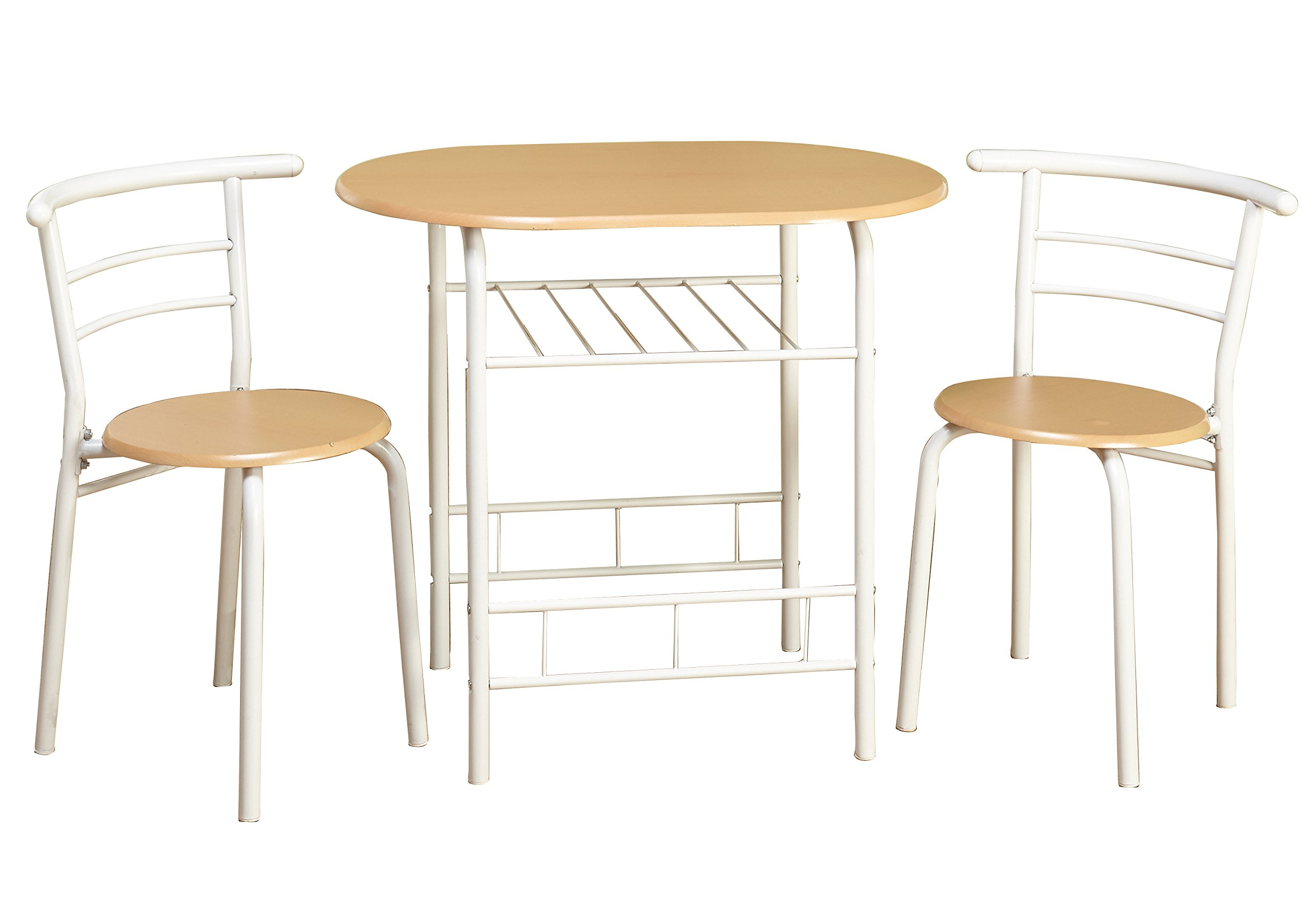 Target Marketing Systems 3 Piece Two-Toned  Bistro Dining Set with 2 Mid-Back Chairs and 1 Round Pedestal Dining Table, White/Natural by Target Marketing Systems