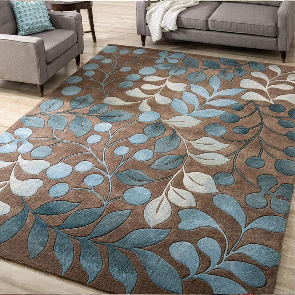 Mengjie Home Modern Area Rug Living Room Brown Bottom Blue Leaf 7mm Thickness Washable Soft Touch Carpet For Hallways Living Room Bedroom Kitchen 160x230cm Amazon Co Uk Kitchen Home