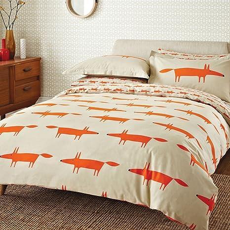 Copripiumino Mr Fox.Scion Bedding Mr Fox Double Duvet Cover Set Natural Amazon Co