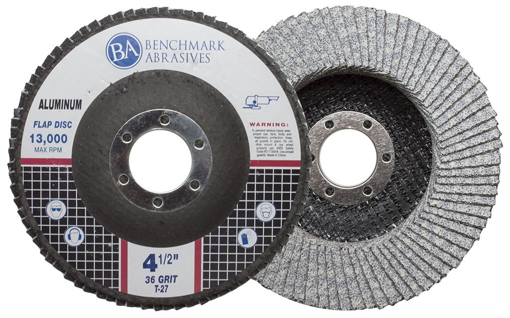 Benchmark Abrasives 4.5'' x 7/8'' Type 27 Stearate Coated Flap Disc for Aluminum (36 Grit)