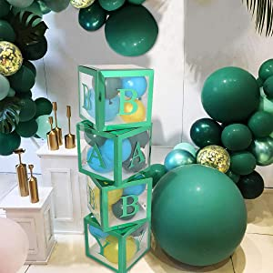 Safari Baby Shower Decorations Boxes - 4 pcs Transparent Balloons Boxes Décor with Letter, Green Large BABY Blocks for Boys Girls Jungle Baby Shower Bridal Shower Birthday Party Gender Reveal Backdrop