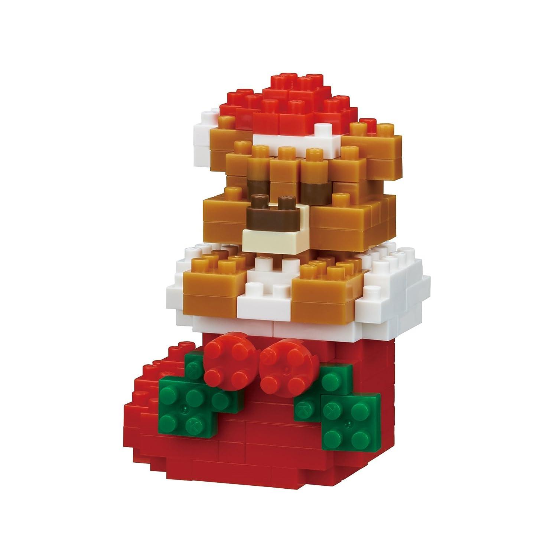 Kawada Nano Block Teddy Bear with Christmas Stocking NBC235