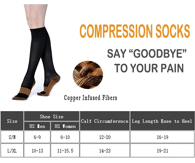 Compression Socks for Women & Men-for Medical, Nursing, Running & Fitness, Edema, Diabetic, Varicose Veins, Travel & Flight, Pregnancy, Nurse (L/XL, 7pairs)