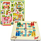 Maze Toys,Netspower Wooden Magnetic Iron Pen Maze Puzzle Games Maze Board Toys + Flying Flight Chess Game Toy Set For Boys Girls For Baby Kids Activity Toys (Traffic Labyrinth)
