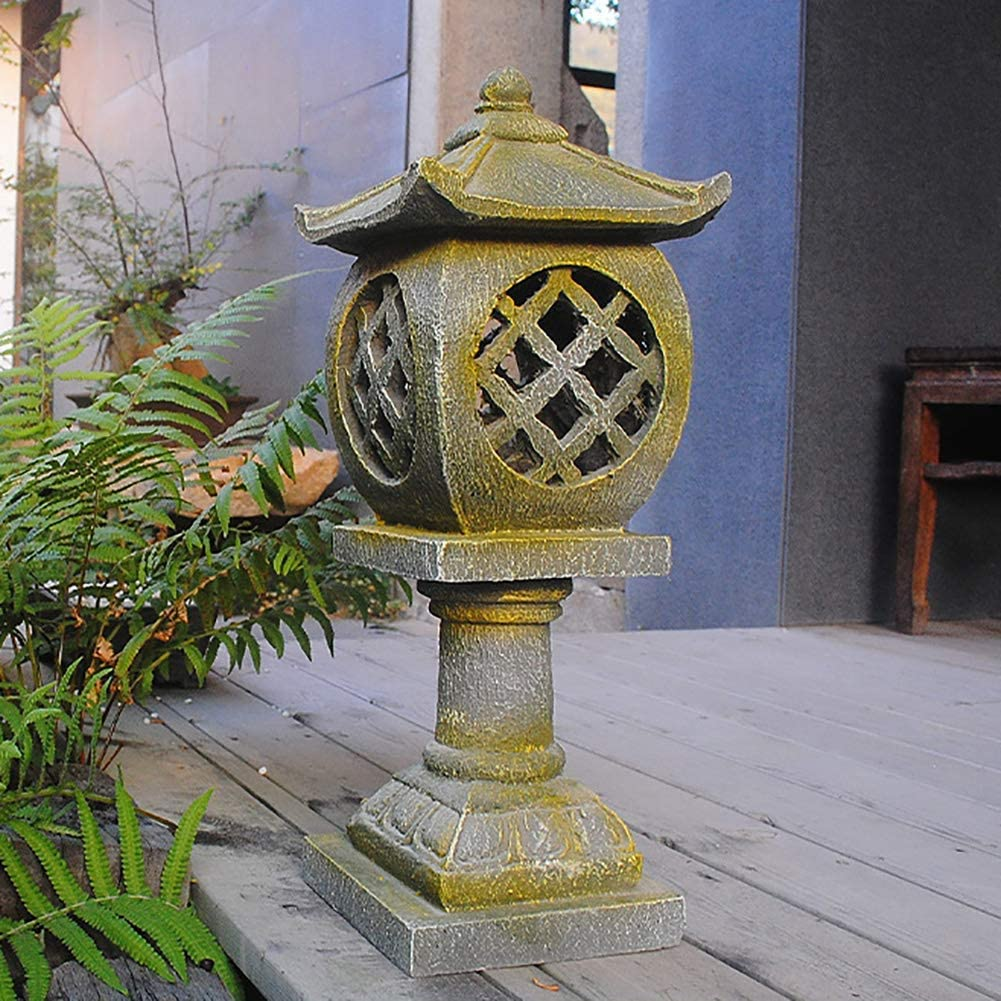 sdfif Resin Outdoor Statues Ornaments,Pagoda Stupa Garden Lantern Sculptures Japanese Style Asian Decor Crafts Patio Yard Figurines A 19x19x53cm(7x7x21inch)