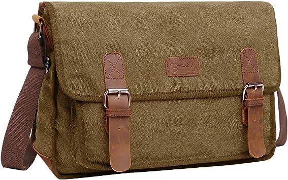 Vintage Messenger Bag Military Cross Body Bag with LEATHER STRAPS Shoulder Bag
