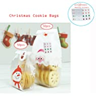 Christmas Treat Bags,Fashionclubs 100pcs/set OPP Flat Cello Cellophane Christmas Cookie Bakery Candy Biscuit Bags,Gift Wrapping Packaging Bags With Sealing Stickers