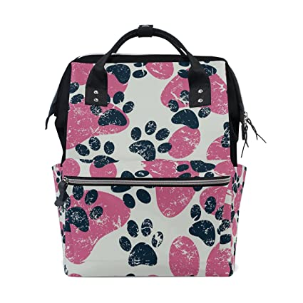 TIZORAX - Mochila para gato con diseño de huellas de gato, color negro y rosa