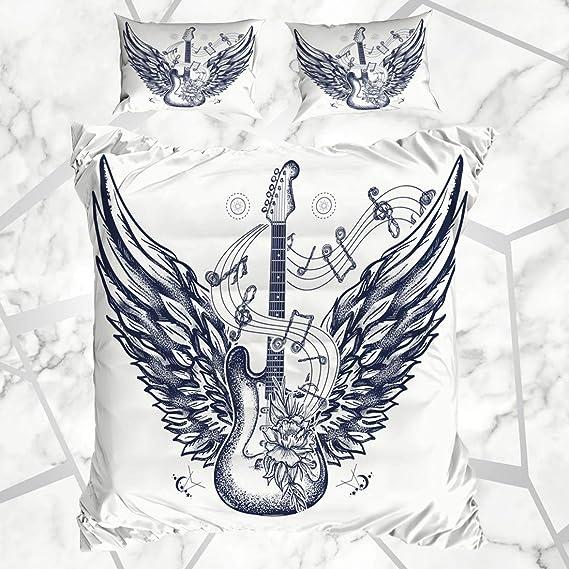 Conjuntos de Funda nórdica Tattoo Rock Guitarra eléctrica Rosas ...
