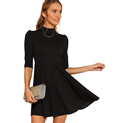 SOLY HUX Women's Casual Fit and Flare Mock Neck High Waist Elegant Dress at Women's Clothing store