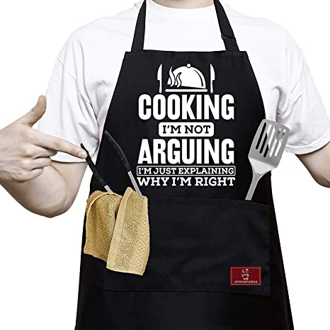 Grill Gift-Grill Aprons Men Funny Printed Party Aprons Cooking Aprons