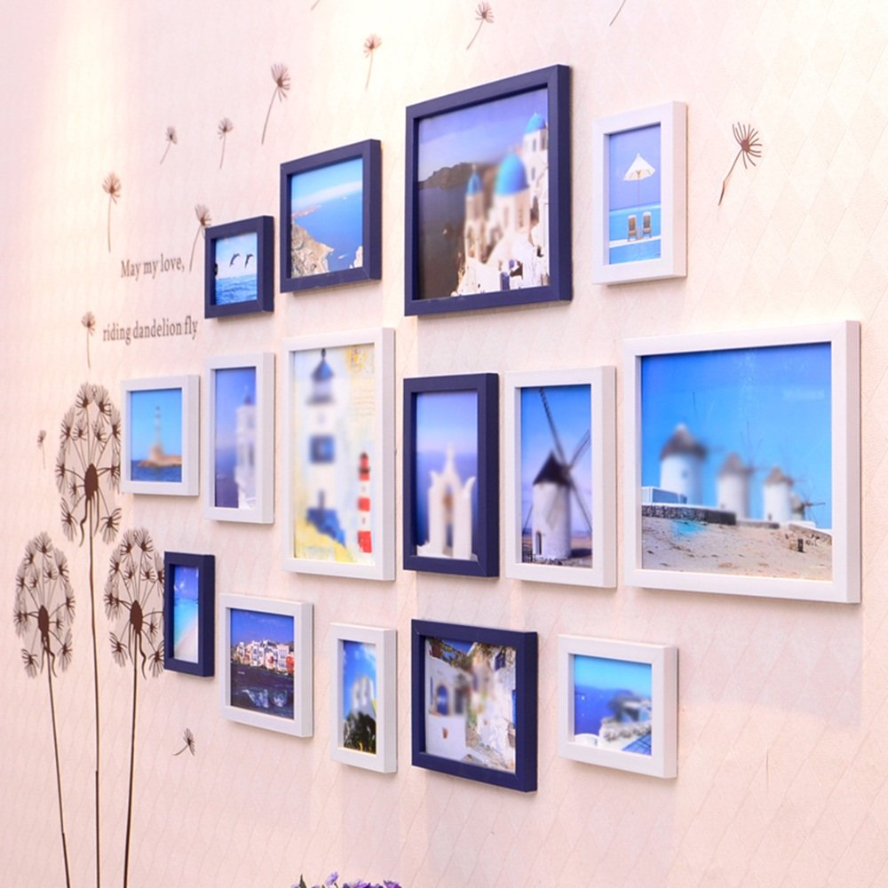 Simple living room photo wall / restaurant photo frame wall combination / European children's room photo wall 15 box 210 90cm ( Color : Black and white ) by Photo Wall