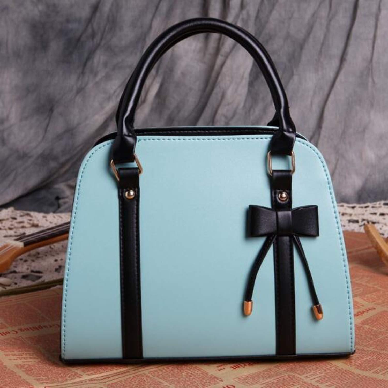 Casual leather handbag bowknot shoulder bag crossbody bags ...