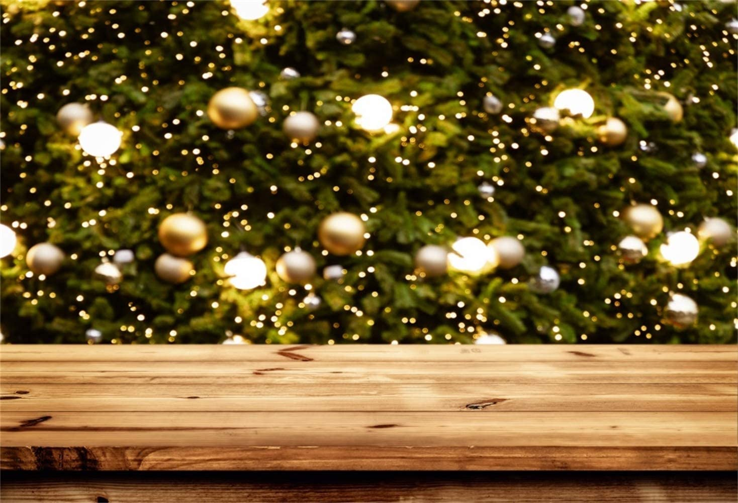 Christmas Backdrop Polyester 8x6.5ft Abstract Bokeh Xmas Tree Golden Xmas Balls Wooden Floor Background Child Kids Adult Shoot Xmas Celebration Party Banner Studio Props