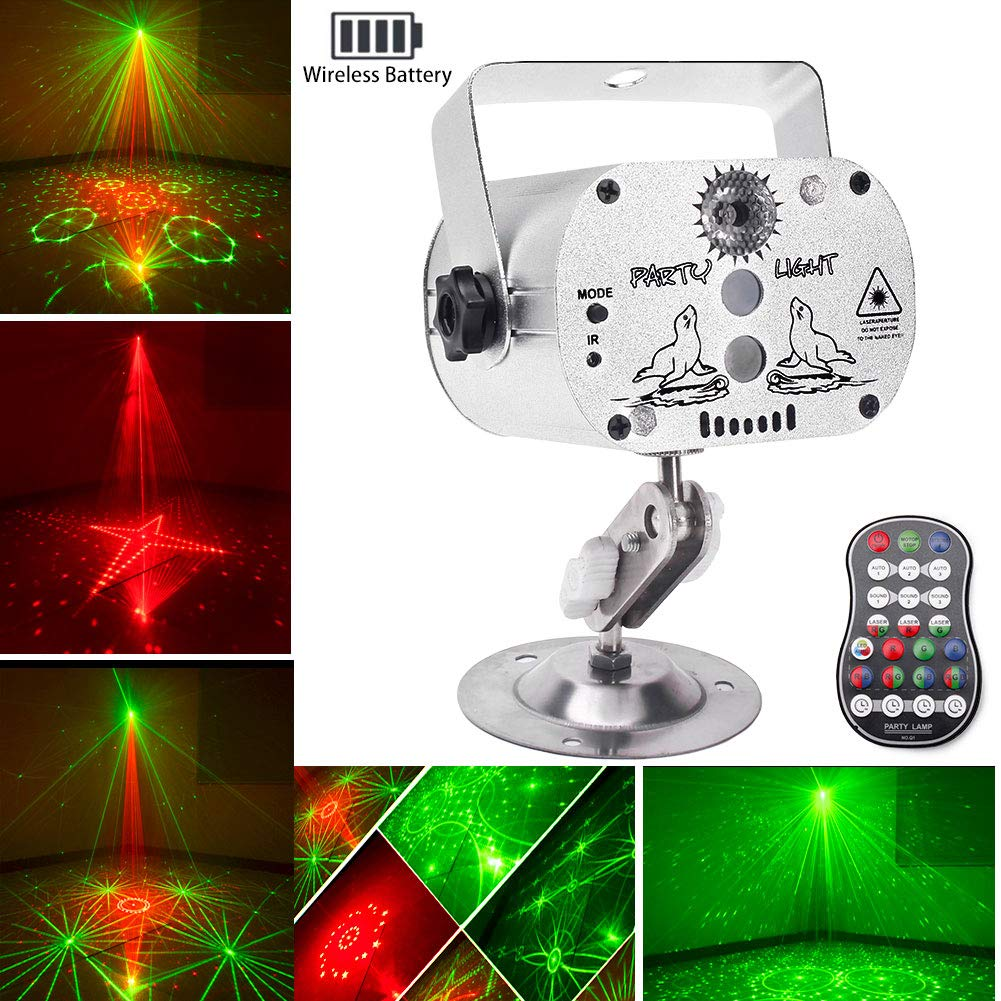 Wireless Party Lights DJ Disco Lights with Built-in Battery, U`King RGB LED Strobe Light Projector Battery Powered 9-24 Hours Playing Remote Control for Weddings Parties Stage Lighting by U`King