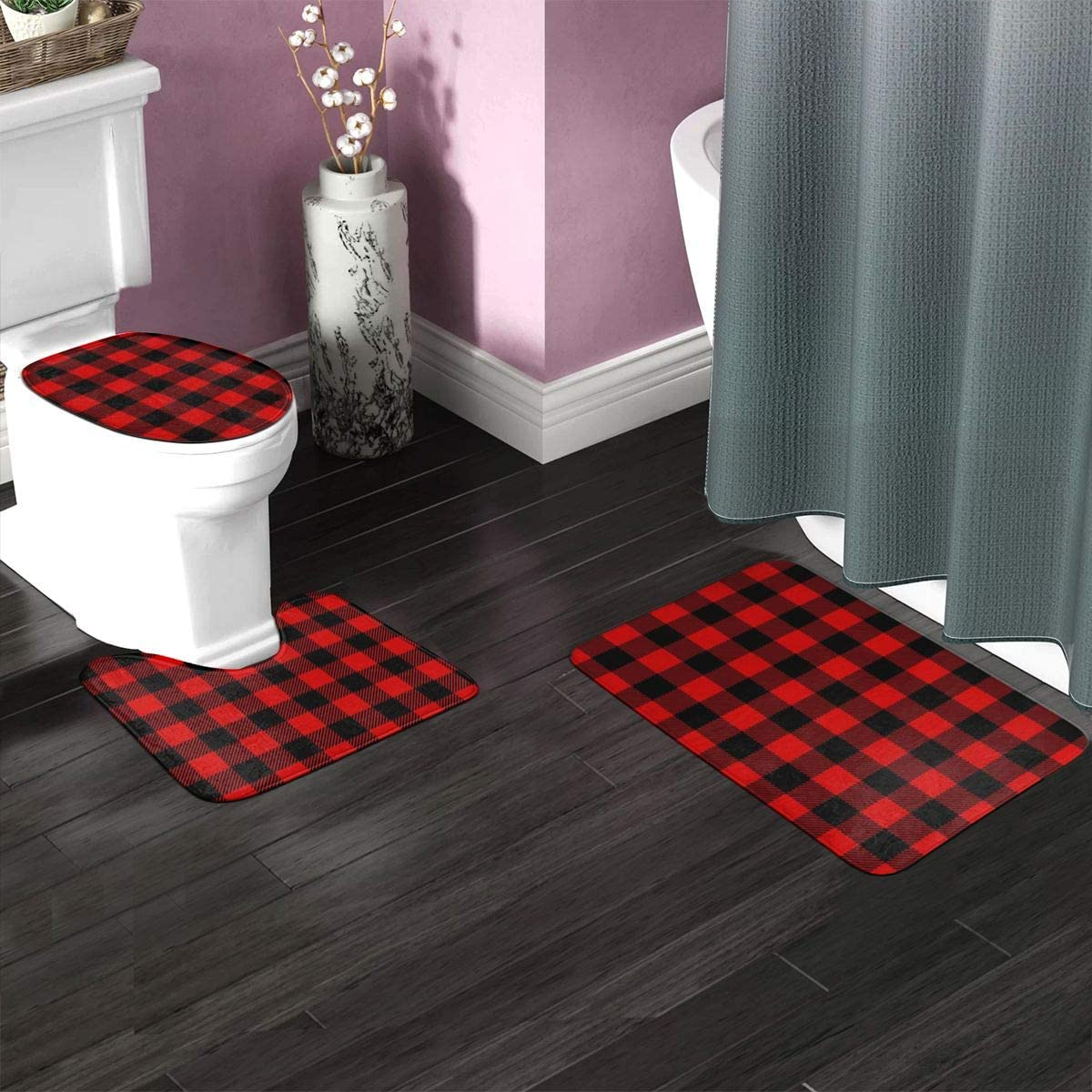 Amazon Com Bian 63 Buffalo Plaid Check Red Black Bathroom Rug Mat Bath Accessories Set 3 Piece Non Slip Bath Mat Pedestal Rug U Shaped Contour Mat Lid Toilet Cover Pad Home Kitchen