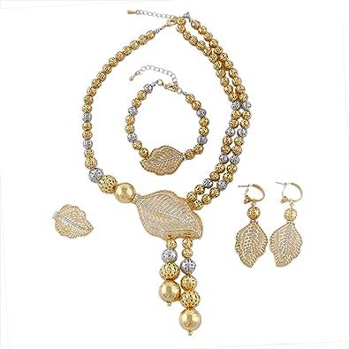 82c37156725 Yulaili Mode parures Africain Fantaisie Collier Mode Charms Bracelet Femme  plaqué Or 24 K Dubaï Accessoire