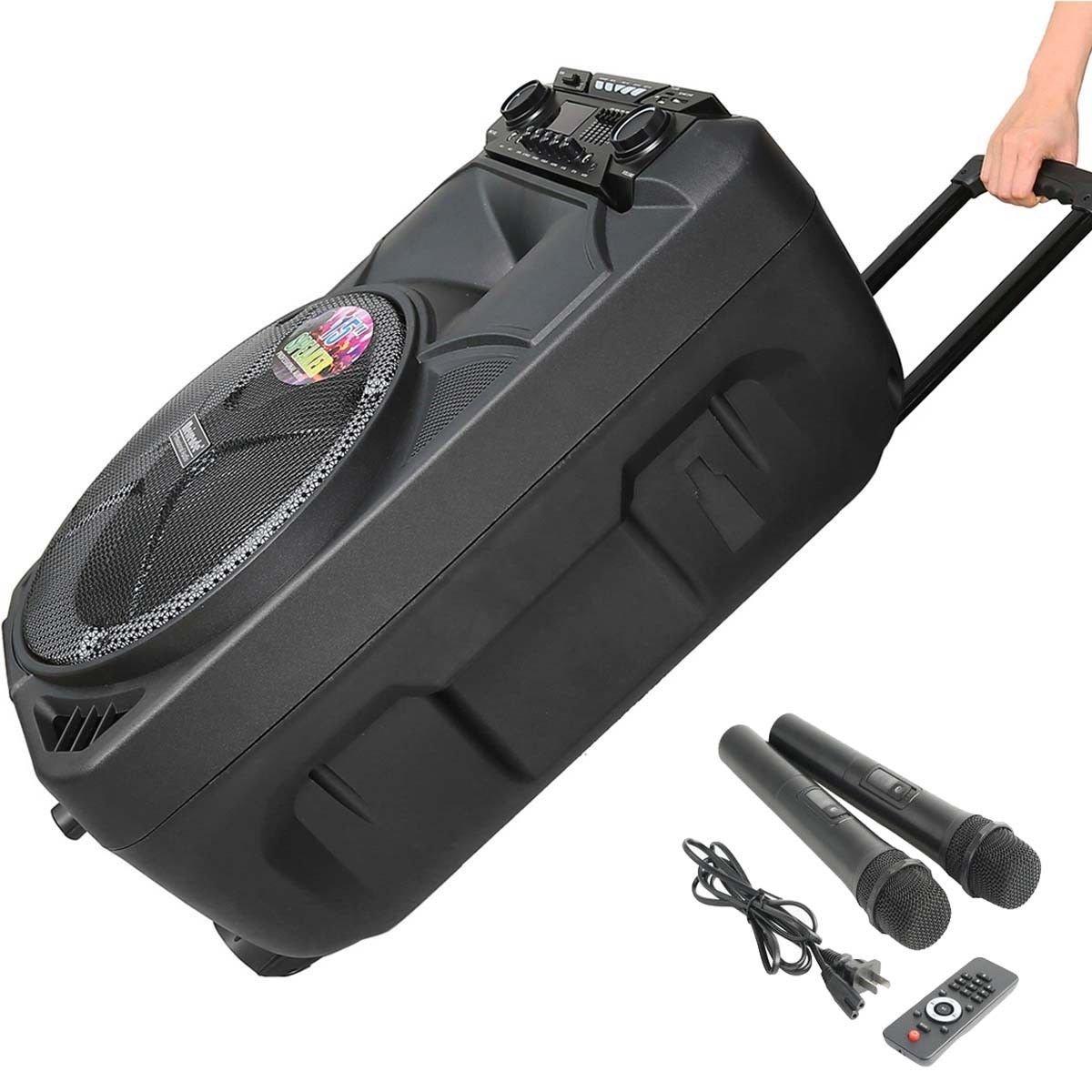 Tengchang Hifi 15 PA System Bluetooth Speaker for Karaoke W//LED DJ Light 2 MICS Remote