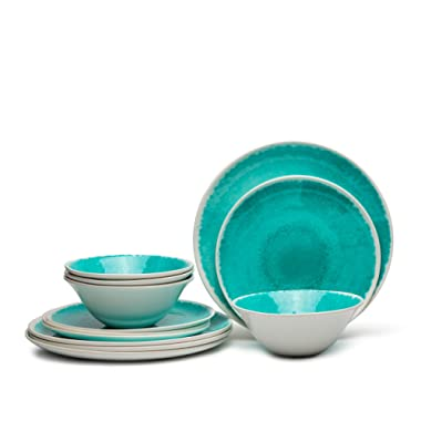 Melamine 12-Piece Dinnerware Set - Dishes Set Suitable Indoors and Outdoors,Service for 4,Lightweight, Turquoise