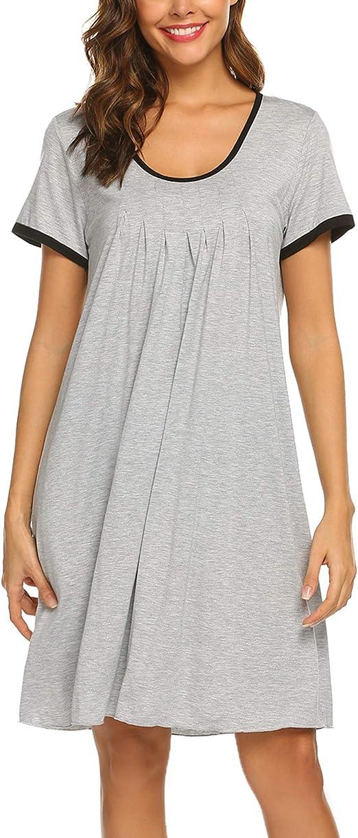 Ekouaer Womens Nightgown Short Sleeve Sleepwear Comfy Sleep Shirt Pleated Scoopneck Nightshirt S-XXL