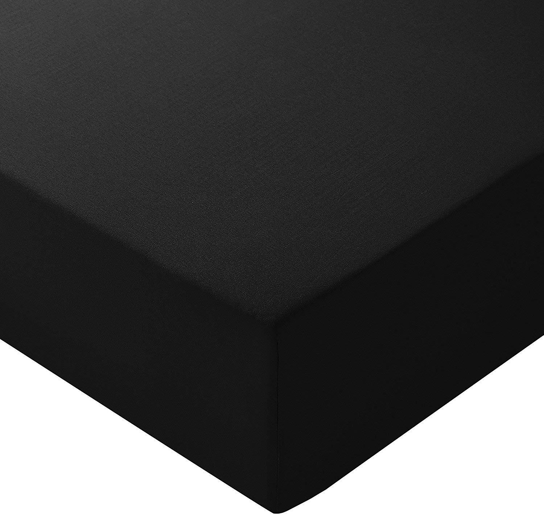 (Negro 135) SÁBANA BAJERA *Maro* LISA VERANO PARA TODAS LAS MEDIDAS 50% Algodón 50% Microfibra. Fácil lavado, planchado y duraderas (135_x_200_cm , Negro): ...