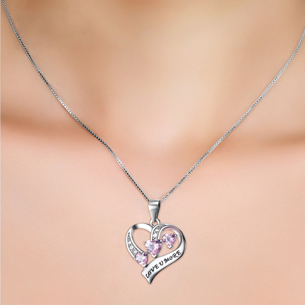 YFN Engraved Love You More Sterling Silver Pink Jewelry Crystal Eternity Heart Necklace (Pink Heart) by YFN (Image #4)