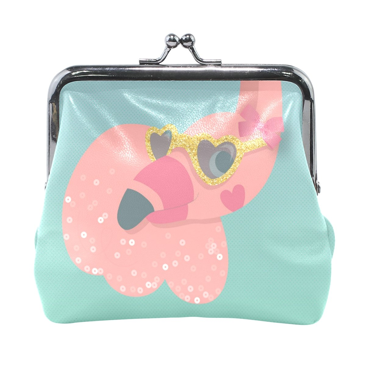 Ethel Ernest Pink Peacock With Sunglasses Coin Wallets Mini Purse for Womens Girls