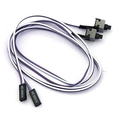 2Pcs For PC Computer Flexible Power Switch Button Cable 50cm