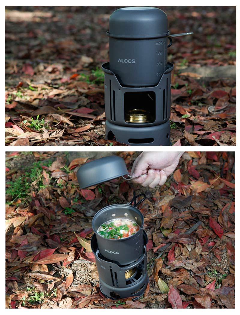 C01 Portable 1-2 Persona 7pcs Camping Cook Set para caminatas al aire libre Picnic Alocs ALOCS CW